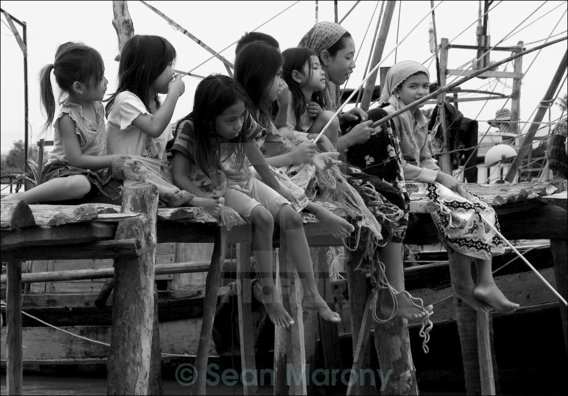"""Cham Girls Fishing"" stock image"