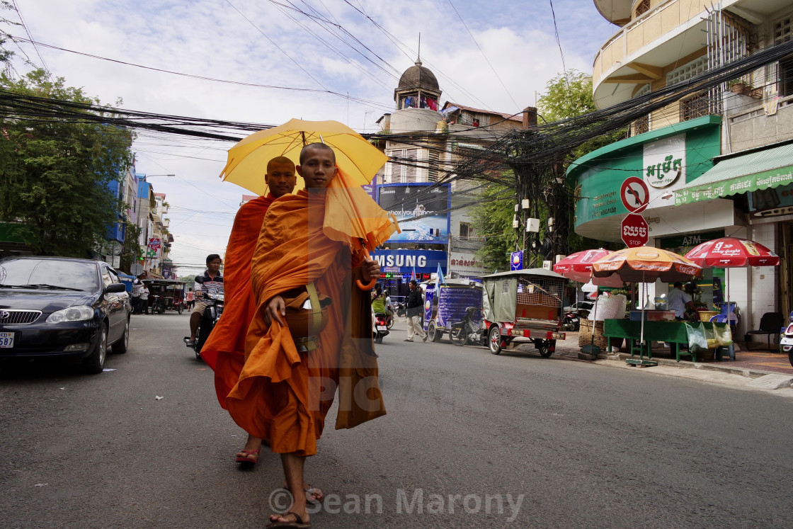 """Buddhist monks, Phnom penh"" stock image"