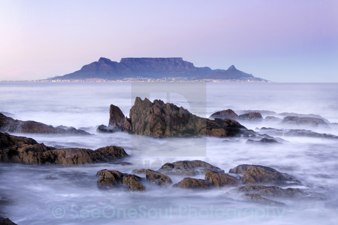 """Pastel Dawn Over Table Mountain from Bloubergstrand, Cape Town"" stock image"