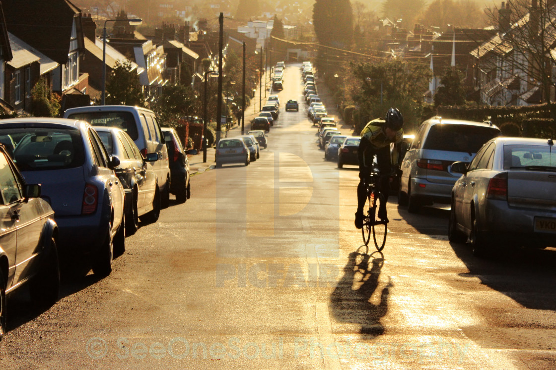 """Cyclist at Sunset"" stock image"