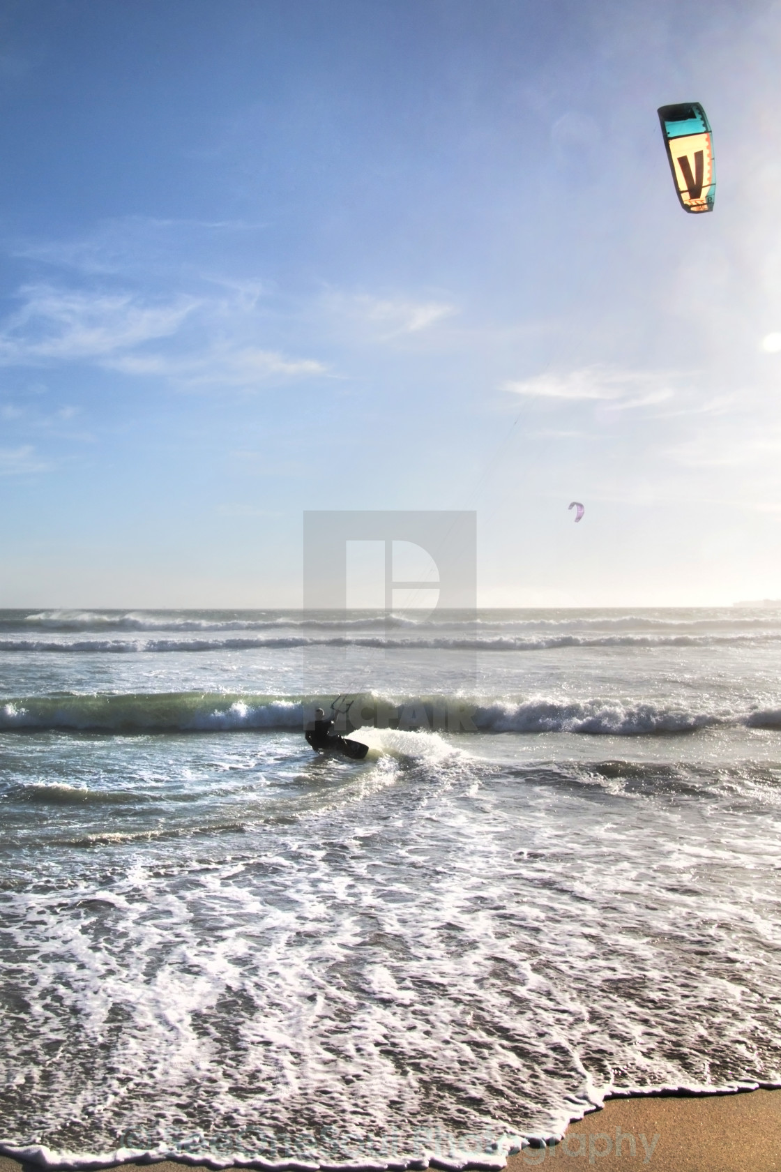 """Late Afternoon Kite Surfing, Cape Town"" stock image"