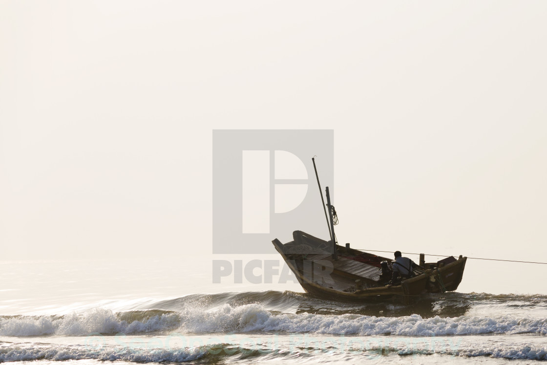 """Trawling for Shellfish in China"" stock image"