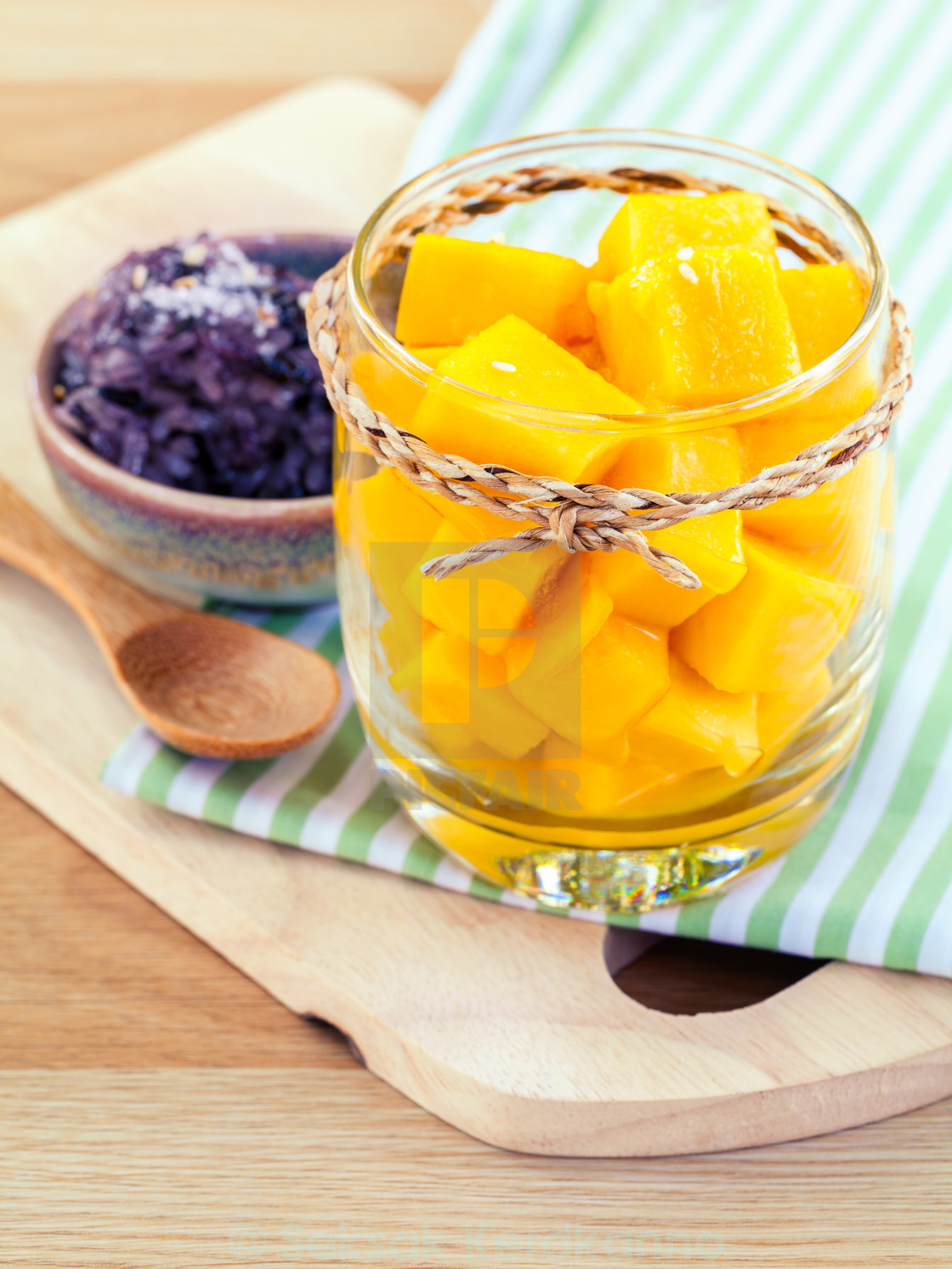 """Mango with sticky rice. - The most popular dessert of Thailand."" stock image"