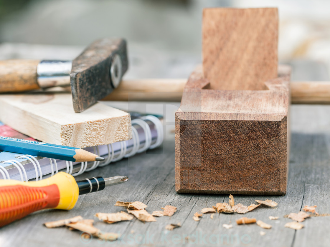 """The carpenter plane and wood shavings for woodwork."" stock image"