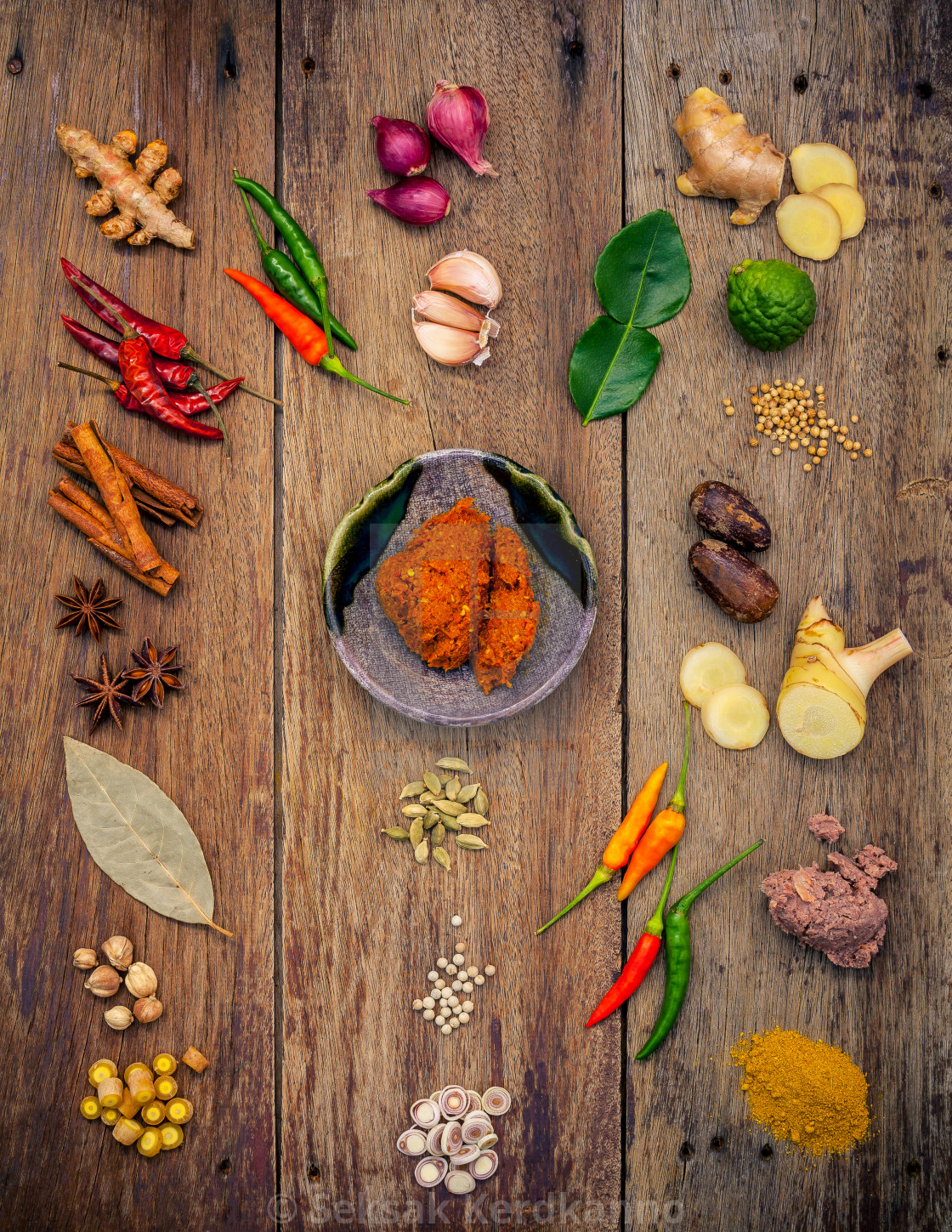 """Various of Indian spices and herbs. Cooking ingredients and red curry paste ...."" stock image"