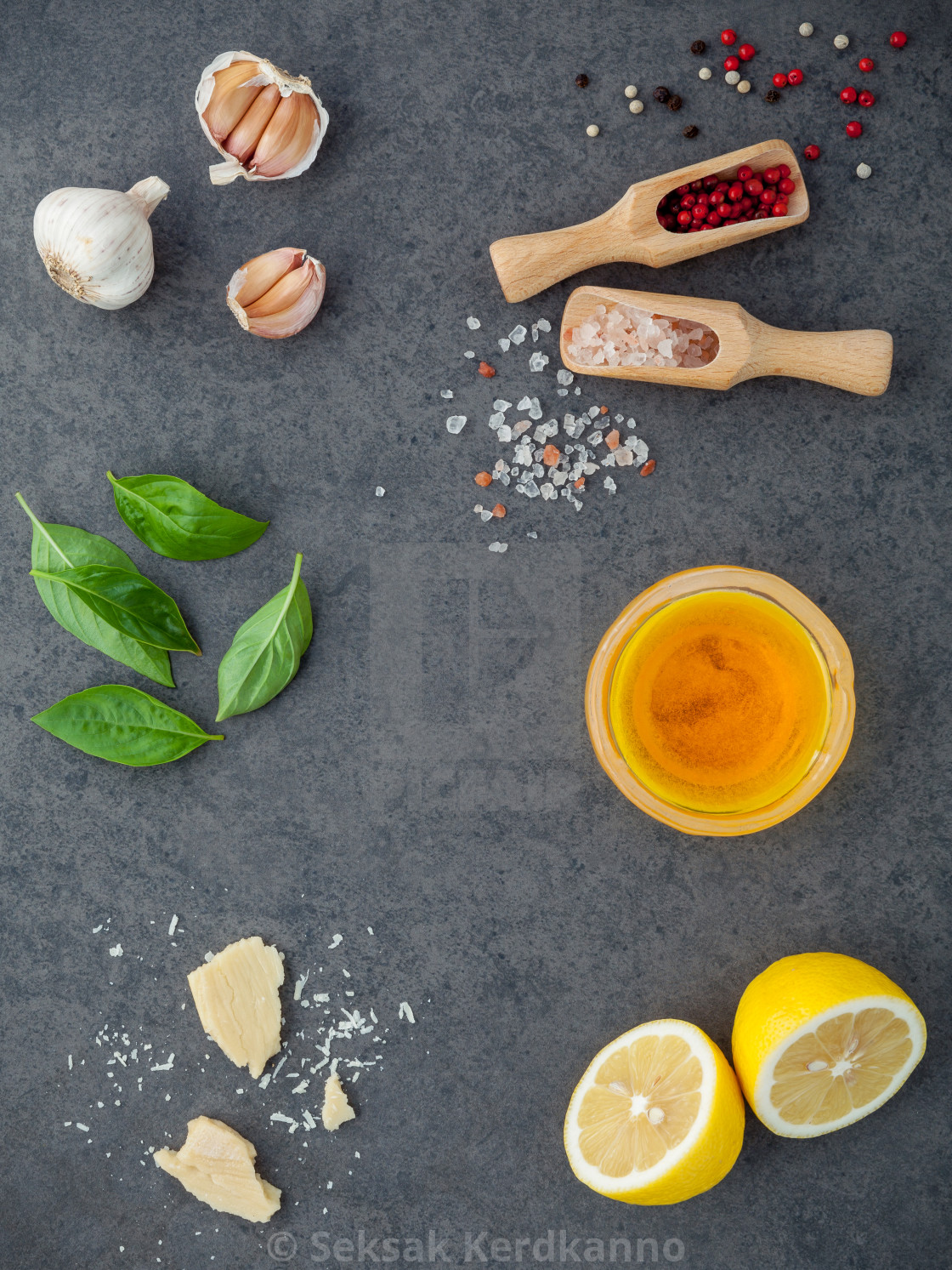 """The ingredients for homemade pesto sauce basil, parmesan cheese ,garlic,..."" stock image"