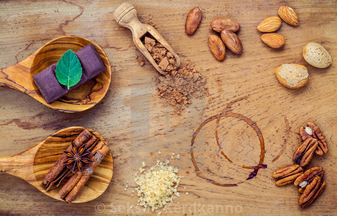 """Desserts background and menu design. Ingredients for bakery , pecan,..."" stock image"