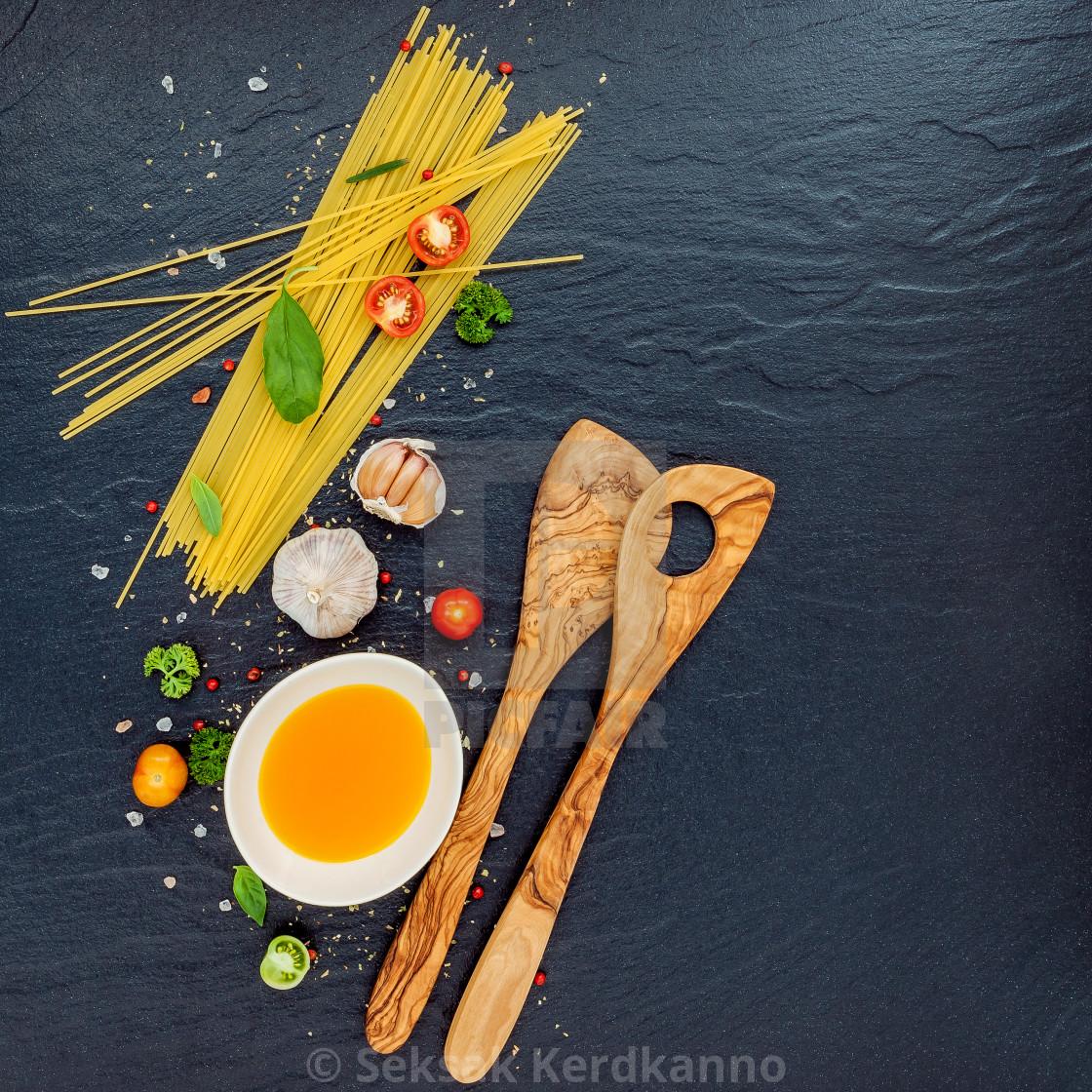 """Italian food concept. Spaghetti with ingredients sweet basil ,tomato ,garlic..."" stock image"