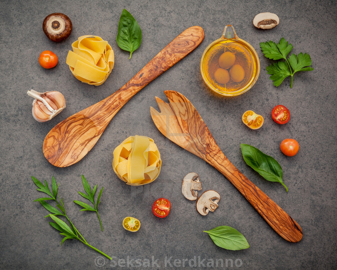 """""""Italian foods concept and menu design.Various kind of pasta with ingredients..."""" stock image"""