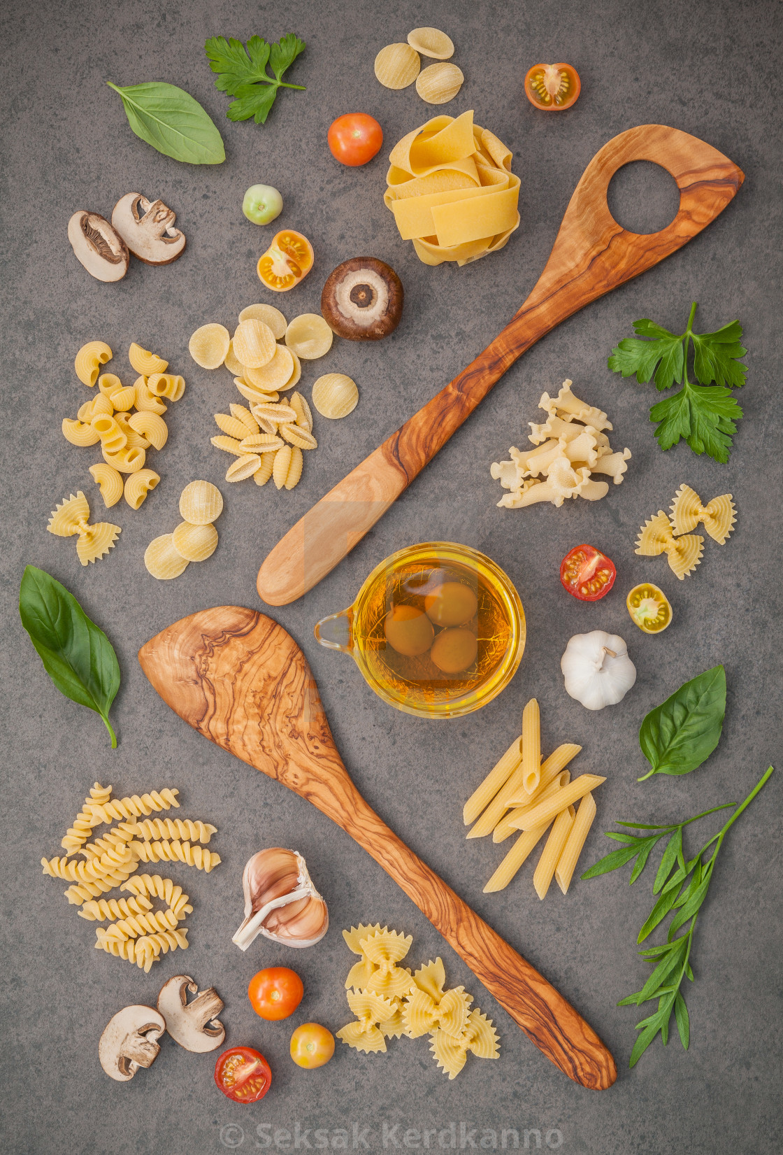 """Italian foods concept and menu design.Various kind of pasta with ingredients..."" stock image"