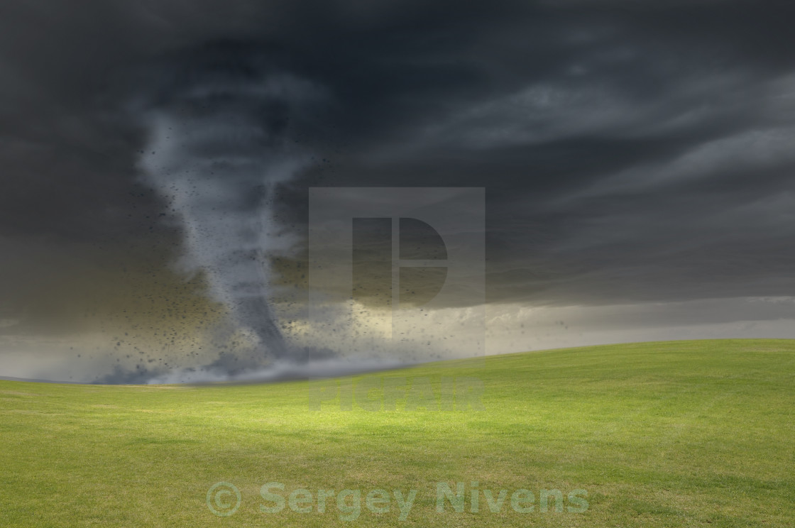 """Tornado in meadow"" stock image"