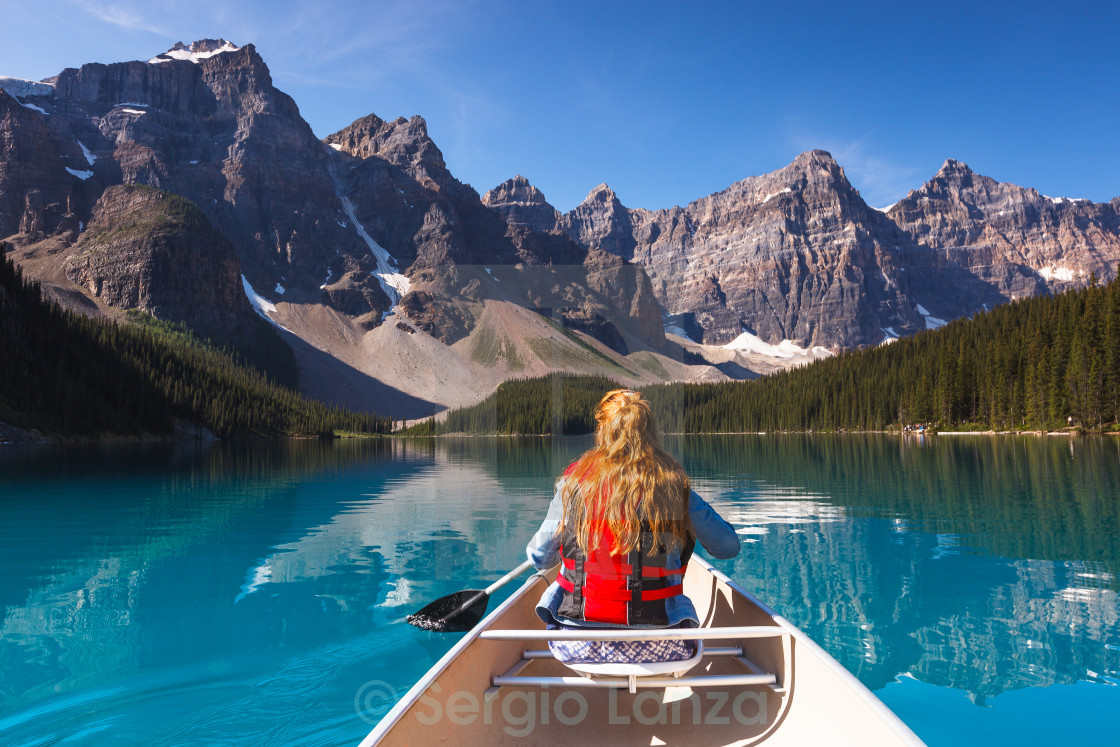 """Exploring Moraine Lake"" stock image"