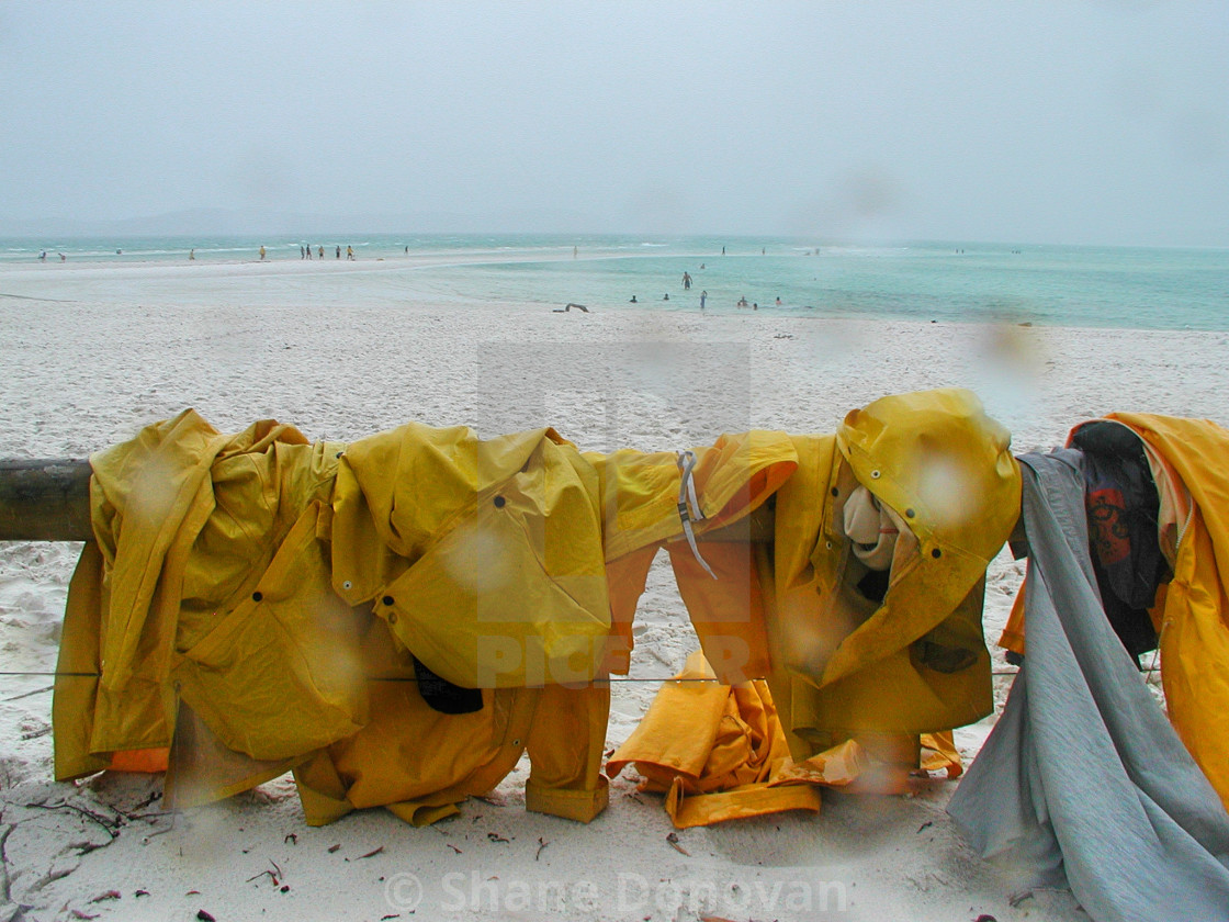 """Beach Raincoats"" stock image"