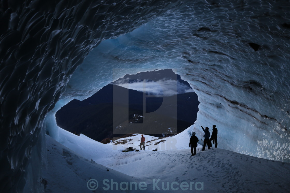 """Inside the Sandy Glacier Ice Cave"" stock image"