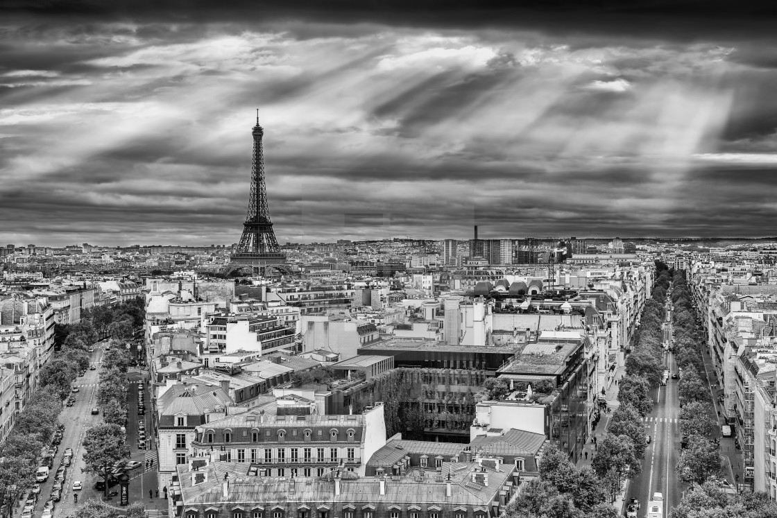 """View from Arc de Triomphe"" stock image"