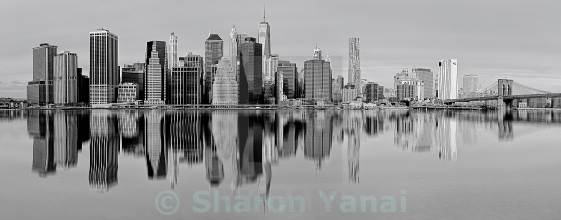 """New York in black and white with reflections on the river"" stock image"