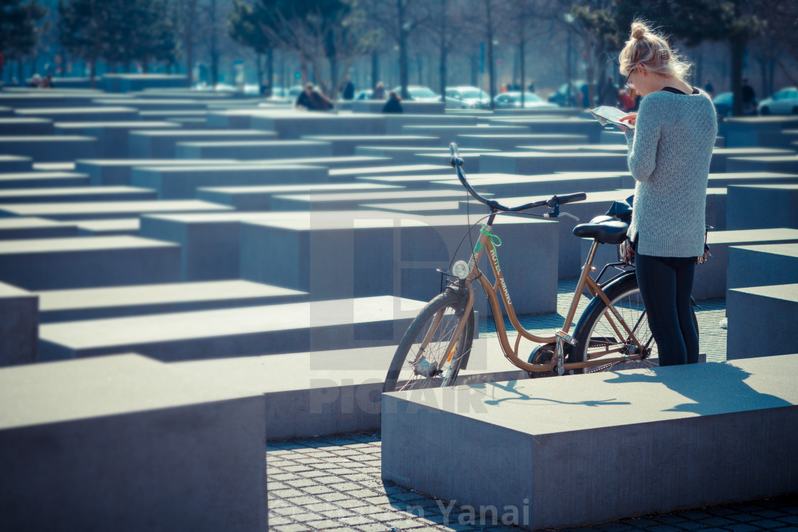 """""""Tourist at the holocaust memorial in Berlin"""" stock image"""