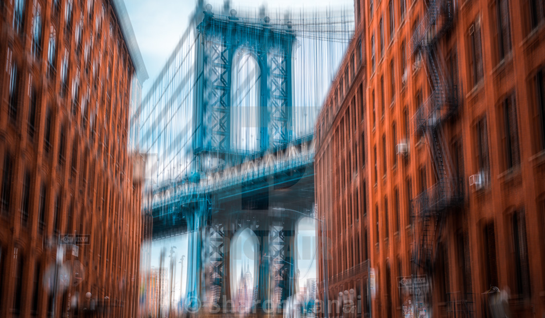"""Manhattan Bridge from Brooklyn"" stock image"