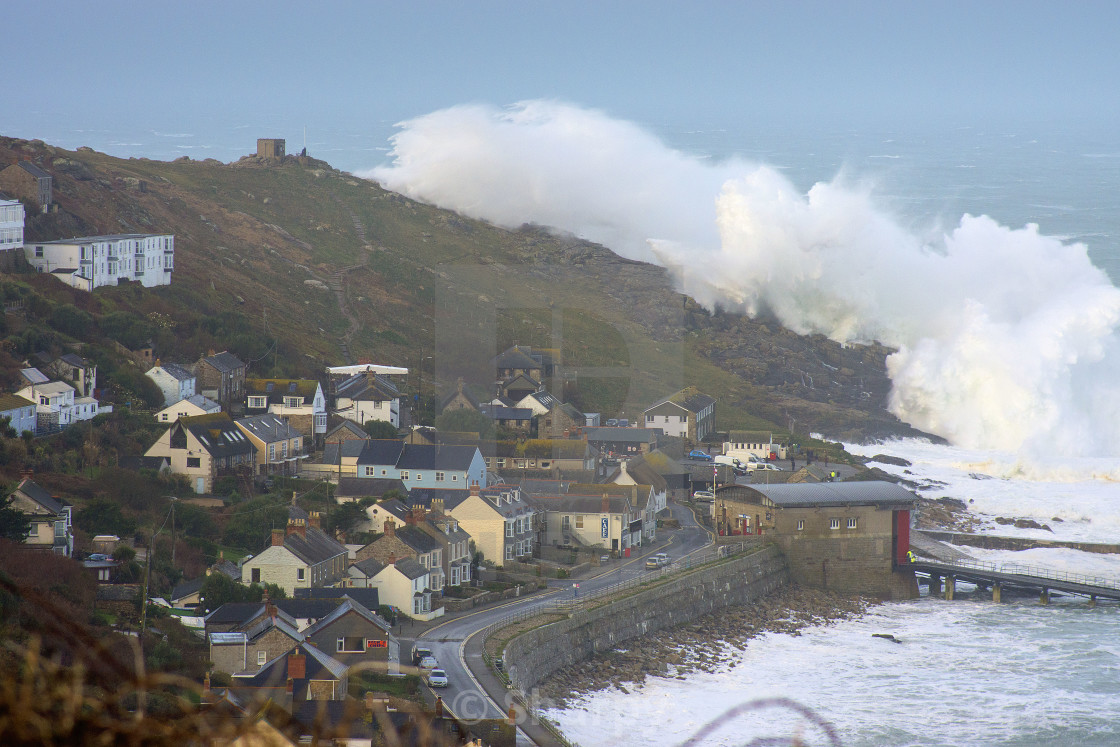 """Hercules Storm at Sennen"" stock image"