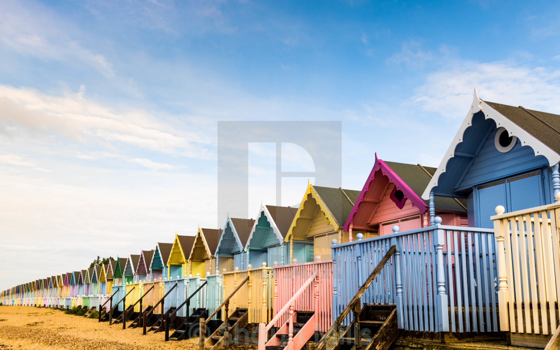 """Beach Huts on Mersea Island"" stock image"