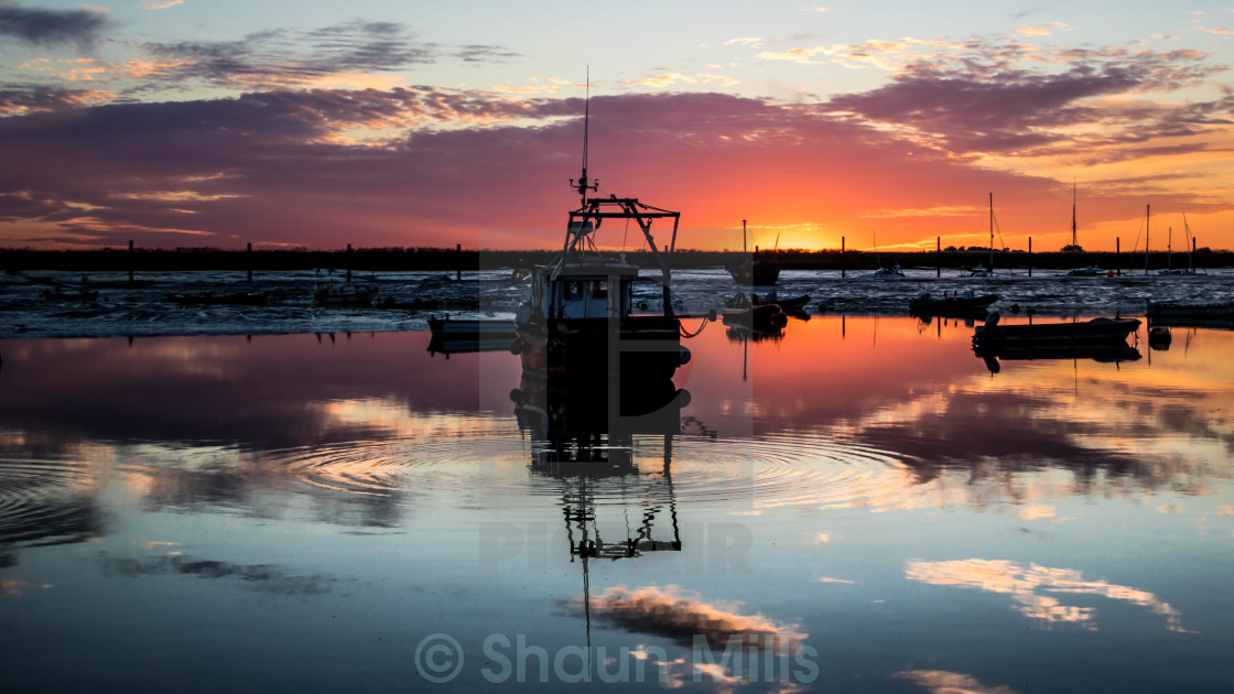 """Sun Setting on Mersea Island"" stock image"