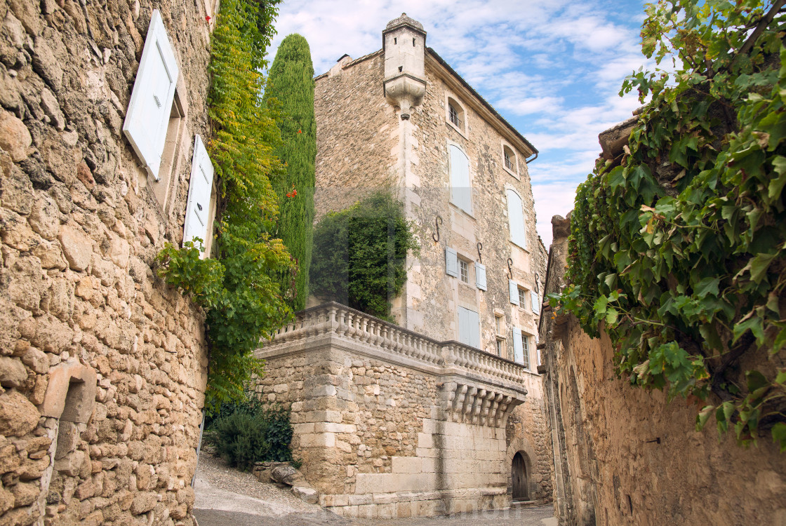 """Old stone house in Ménerbes (Menerbes), France"" stock image"