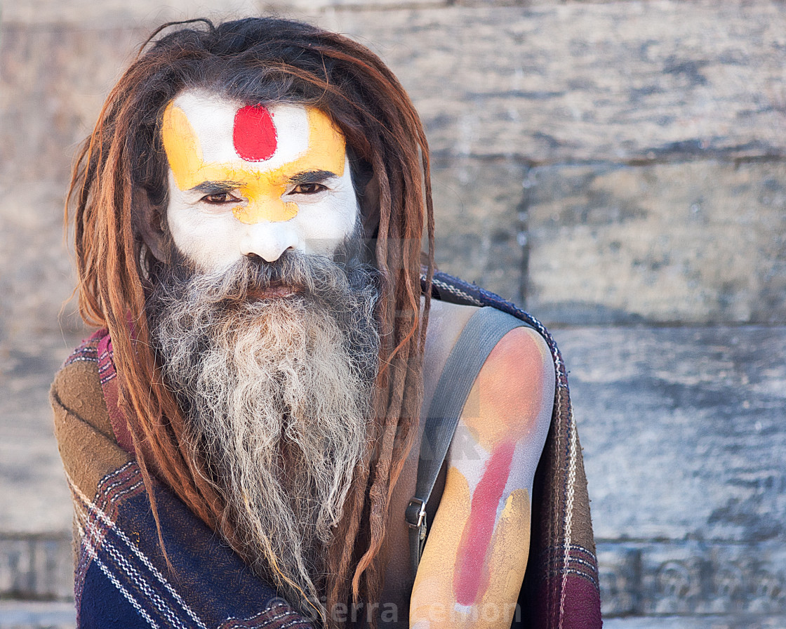 """A holy man in Pashupatinath temple, Kathmandu, Nepal"" stock image"