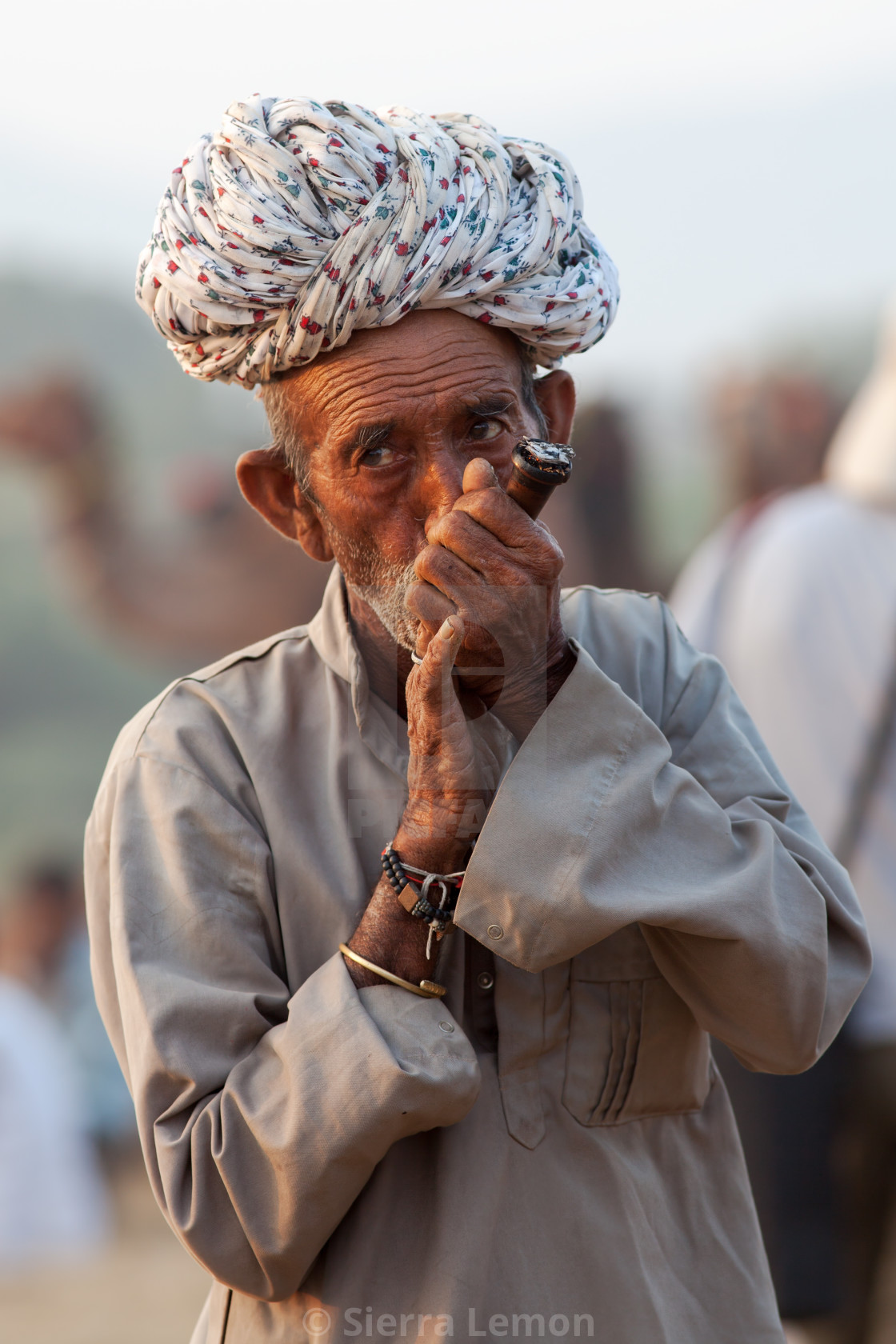 """Hashish Smoker, Pushkar Camel Fair, Rajasthan, India"" stock image"