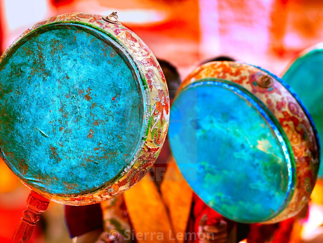 """Drums, Sakya Monastery, Tibet"" stock image"
