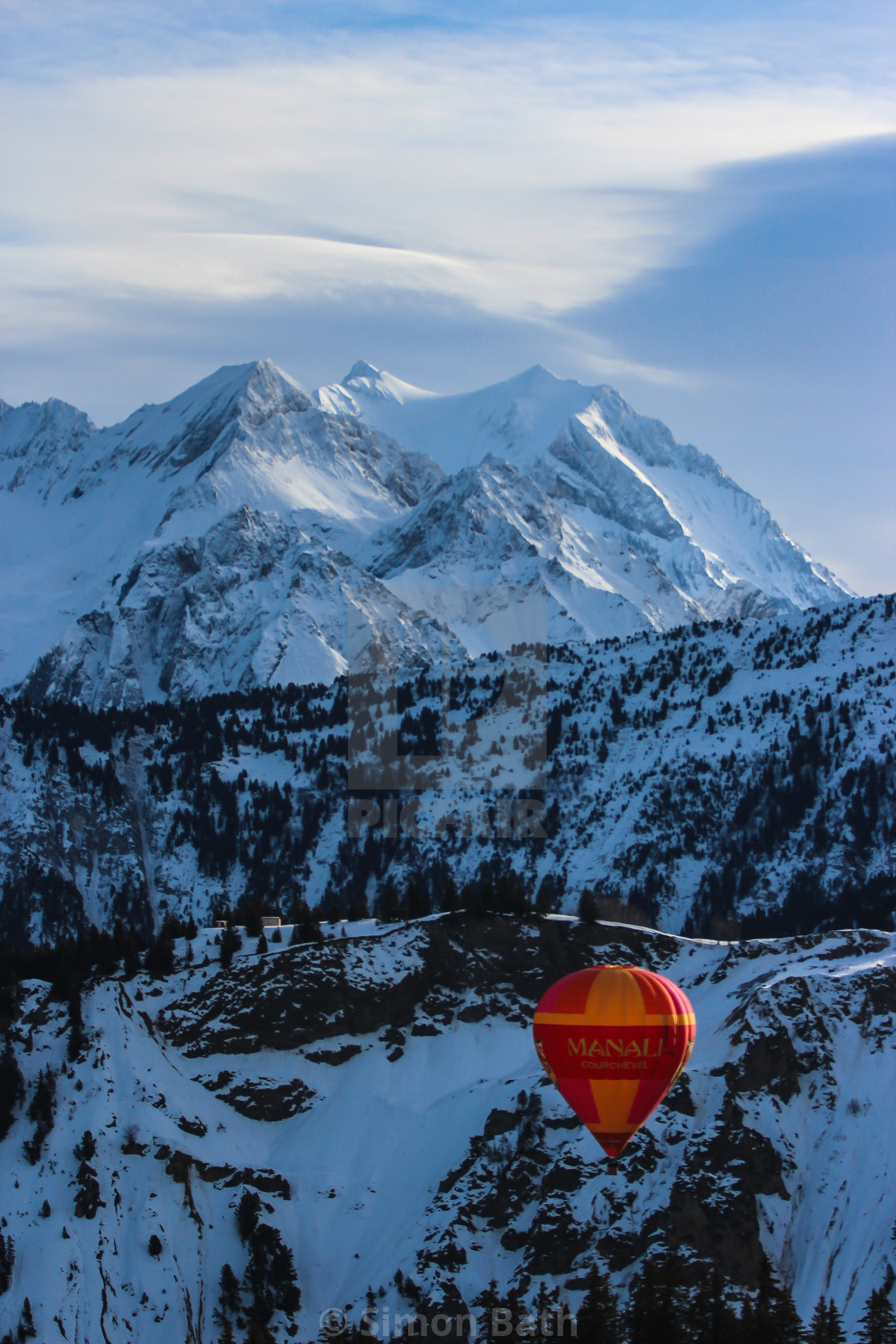 """Hot Air Balloon in the Alps 1"" stock image"
