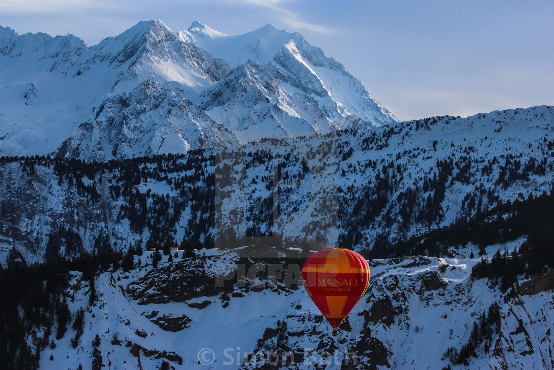 """""""Hot Air Balloon in the Alps 2"""" stock image"""