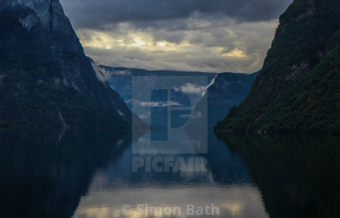 """""""Sunset on the Fjord"""" stock image"""