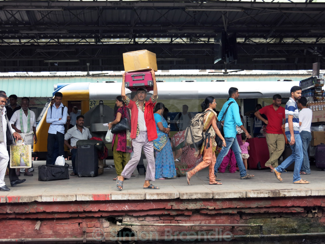 """New Dehli Railway Travelers"" stock image"