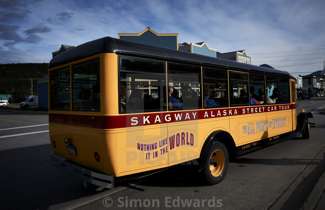 """Skagway Tour Bus"" stock image"