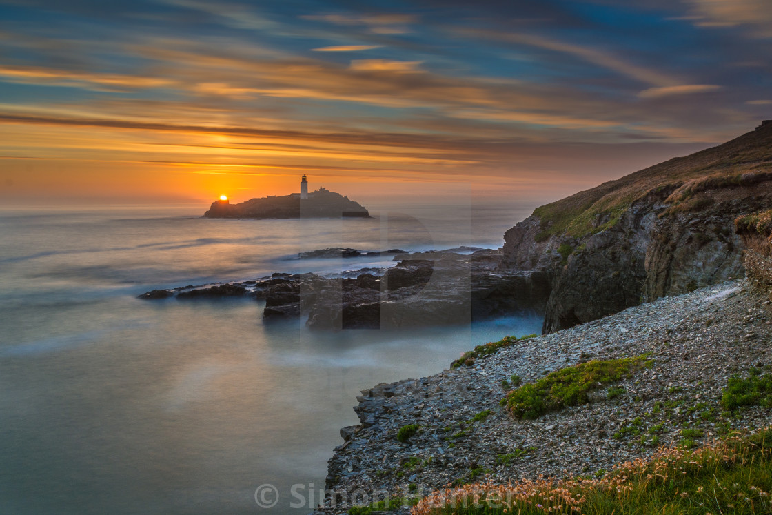 """Godrevy lighthouse at sunset"" stock image"
