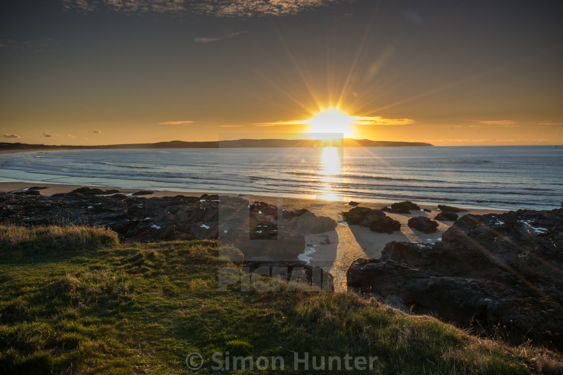"""Sunset over St Ives Cornwall"" stock image"
