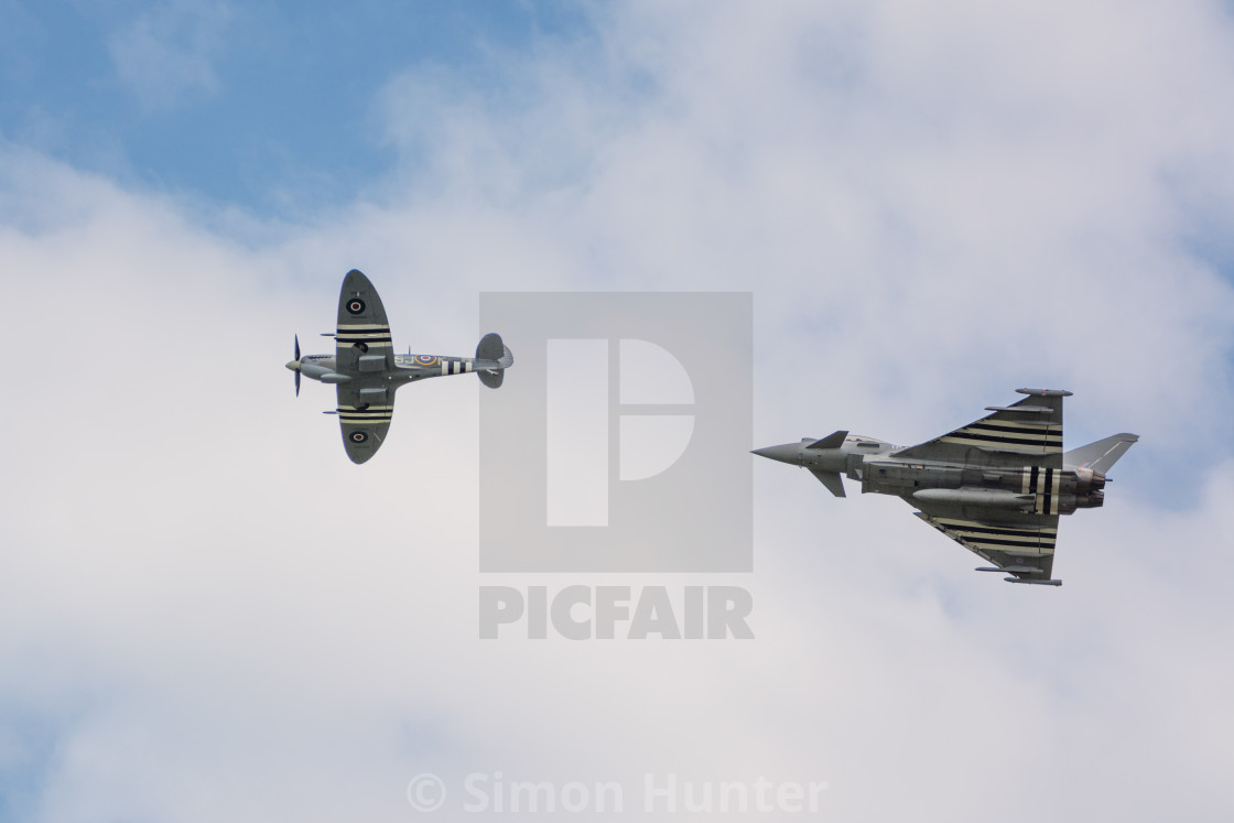 """Spitfire and Typhoon together"" stock image"