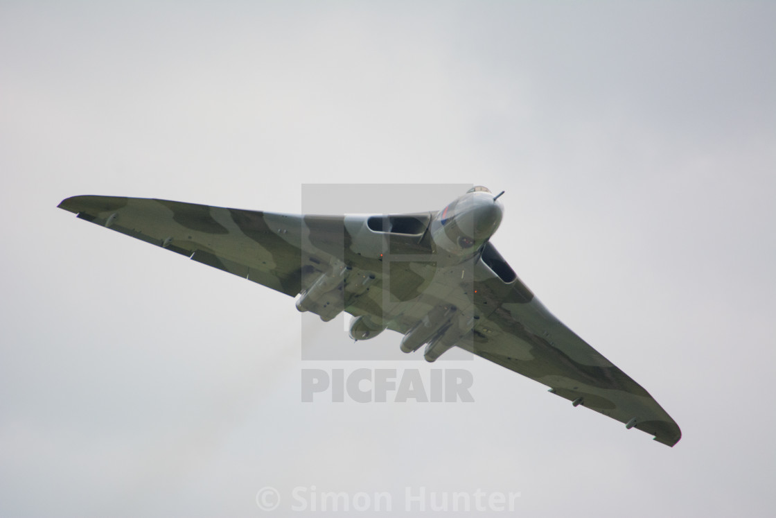 """The Vulcan bomber flypast"" stock image"