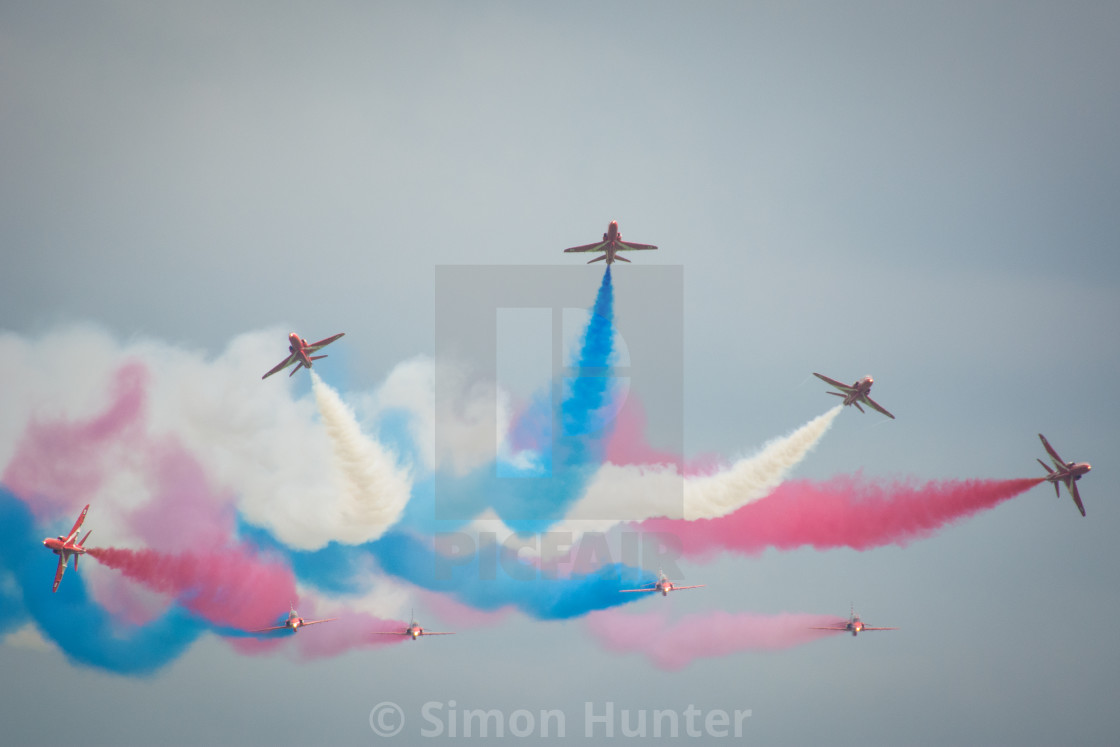 """""""The RAF Red Arrows burst"""" stock image"""