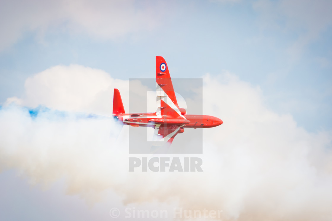 """Red Arrow lost in smoke"" stock image"