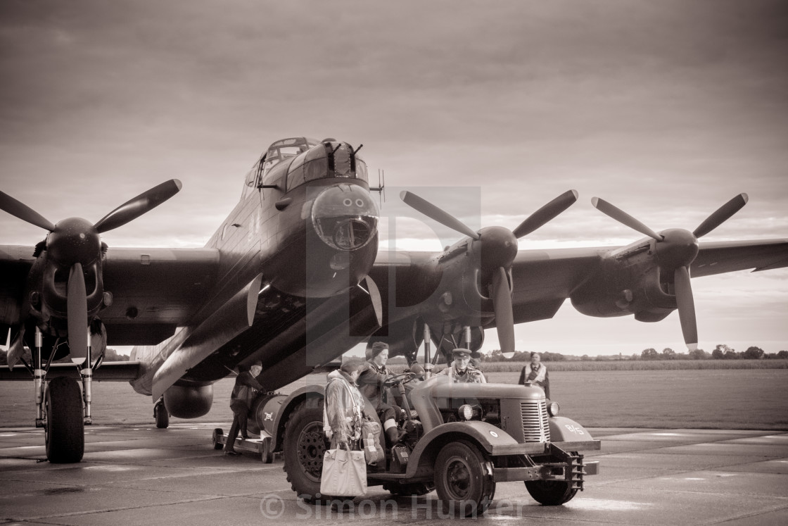 """Lancaster bomber with crew"" stock image"