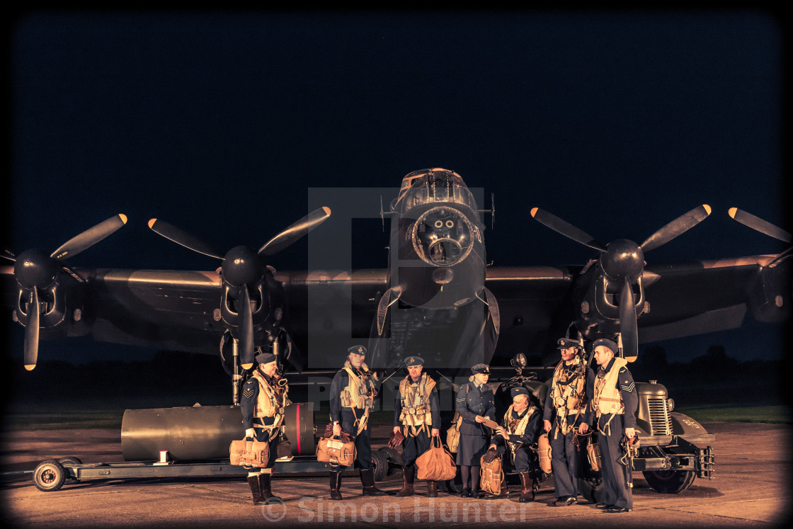 """Lancaster crew posing before a mission"" stock image"