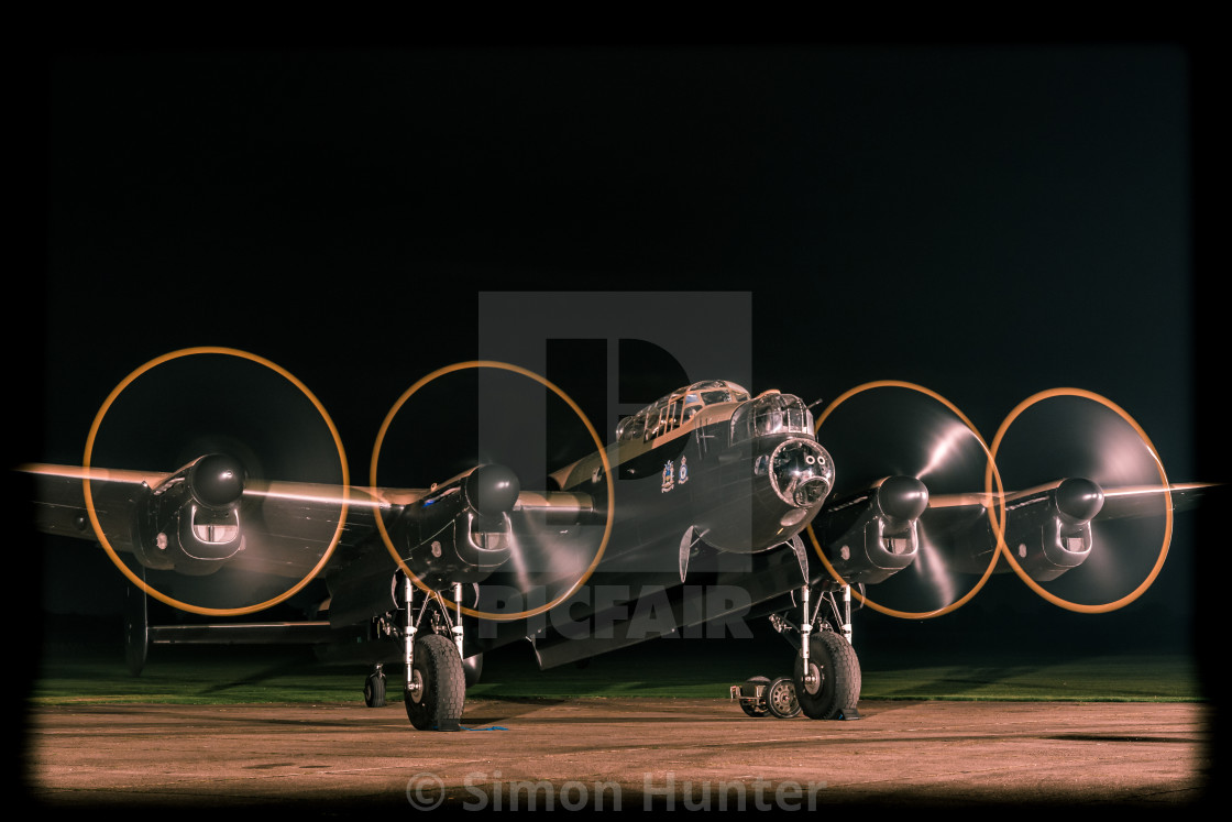 """""""Lancaster bomber with engines running"""" stock image"""