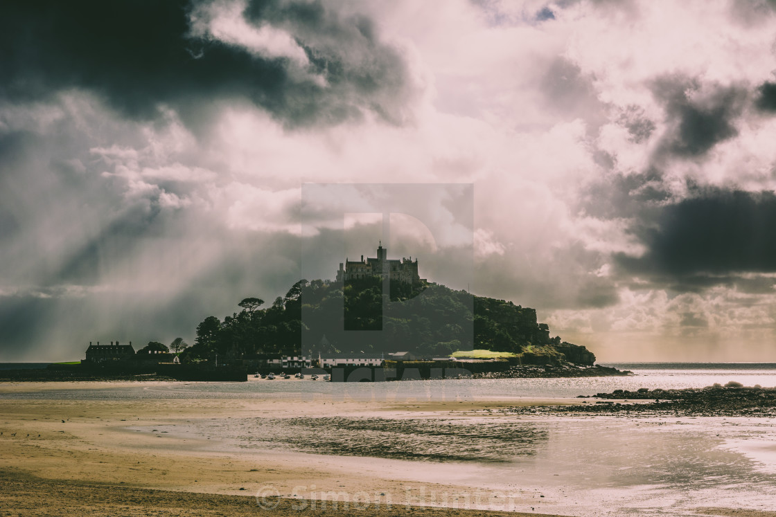 """Storm clouds over St Michaels Mount"" stock image"