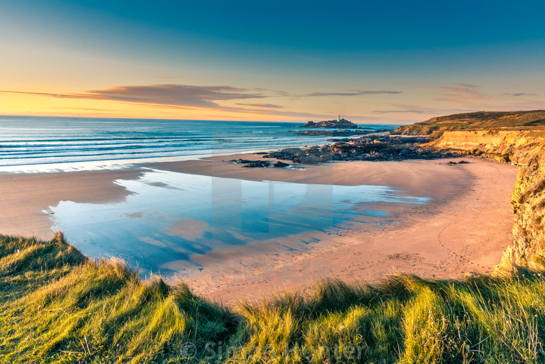 """October sunset at Godrevy"" stock image"