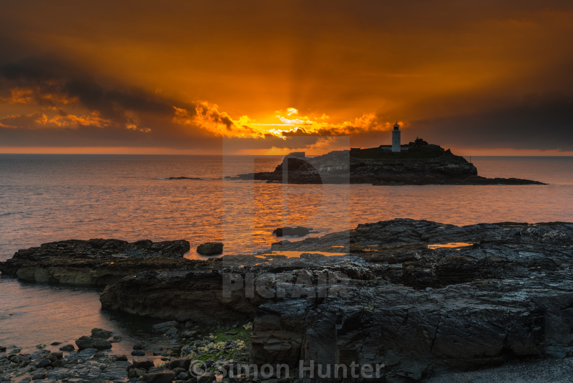 """Sunset at Godrevy"" stock image"