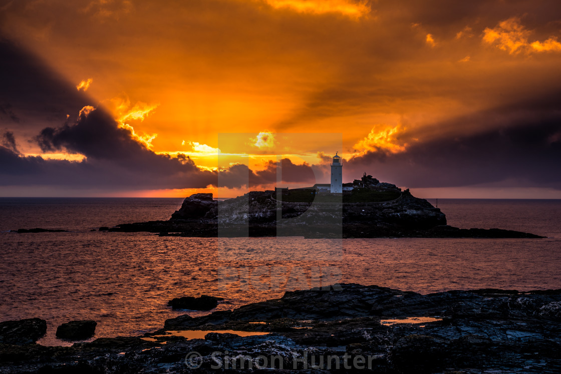 """Gorgeous sunset at Godrevy"" stock image"