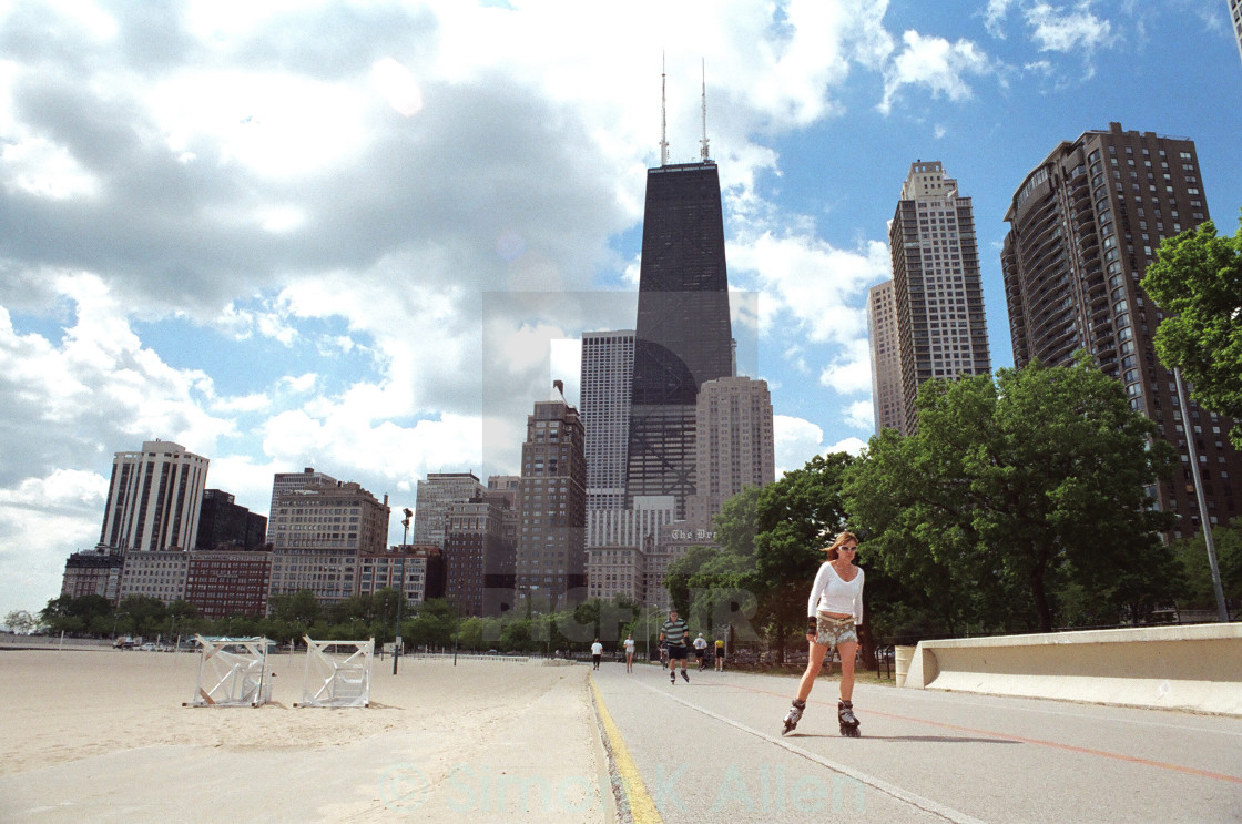 """Chicago Rollerskater"" stock image"