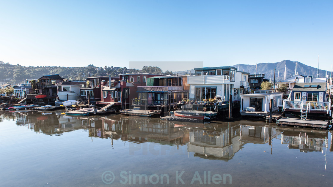 """""""Houseboats in Sausalito"""" stock image"""