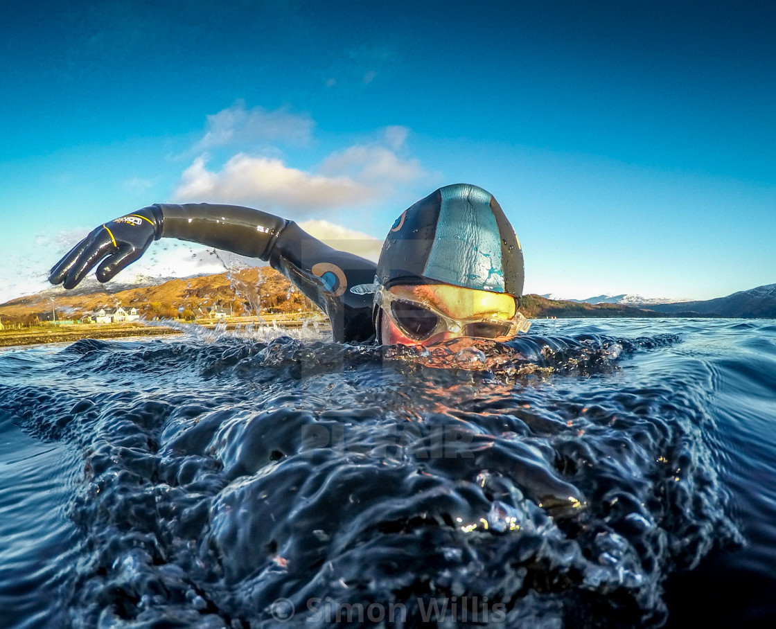 """swim wild scottish highlands"" stock image"
